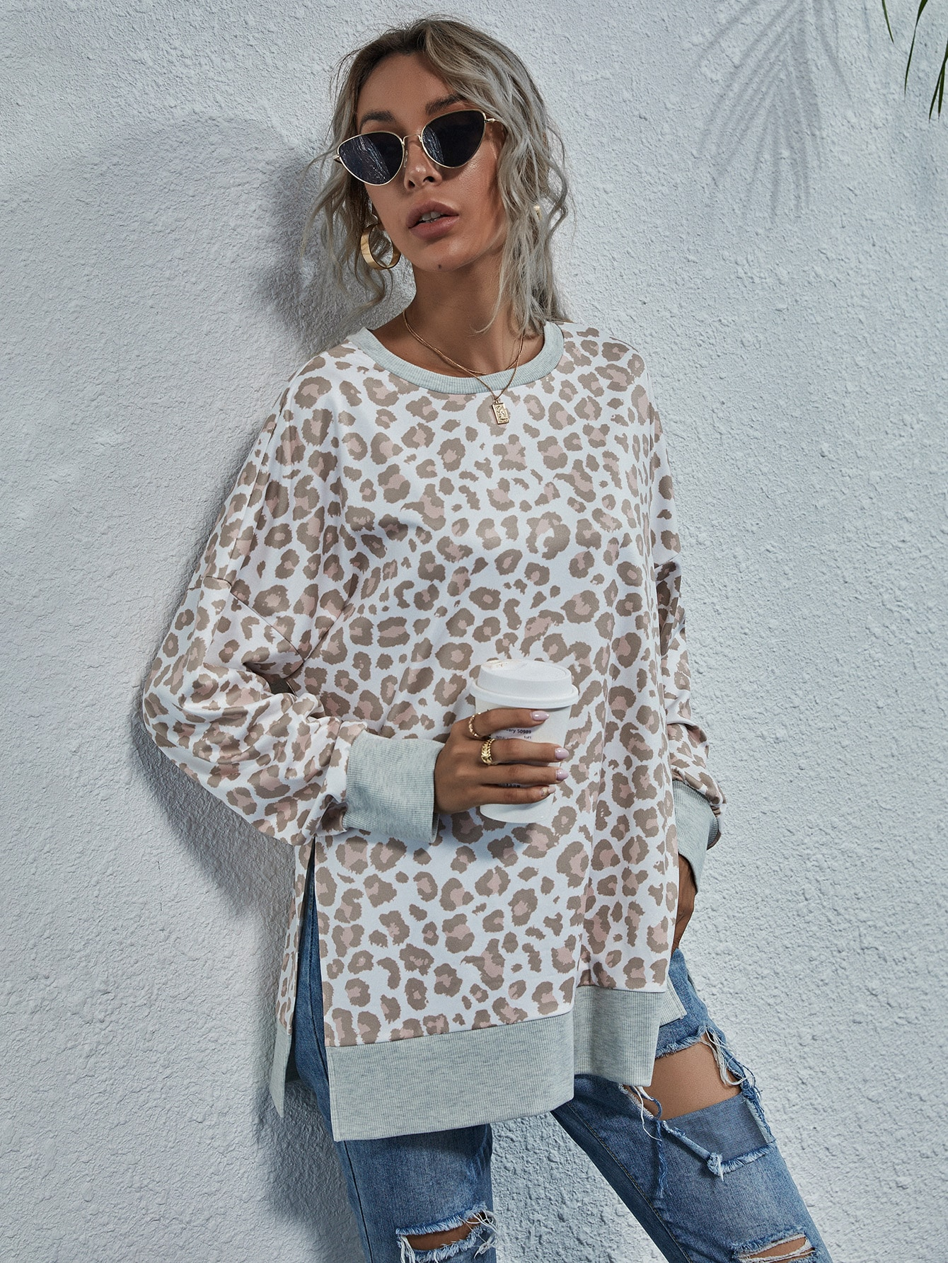 Leopard Print Split Hem Drop Shoulder Sweatshirt thumbnail
