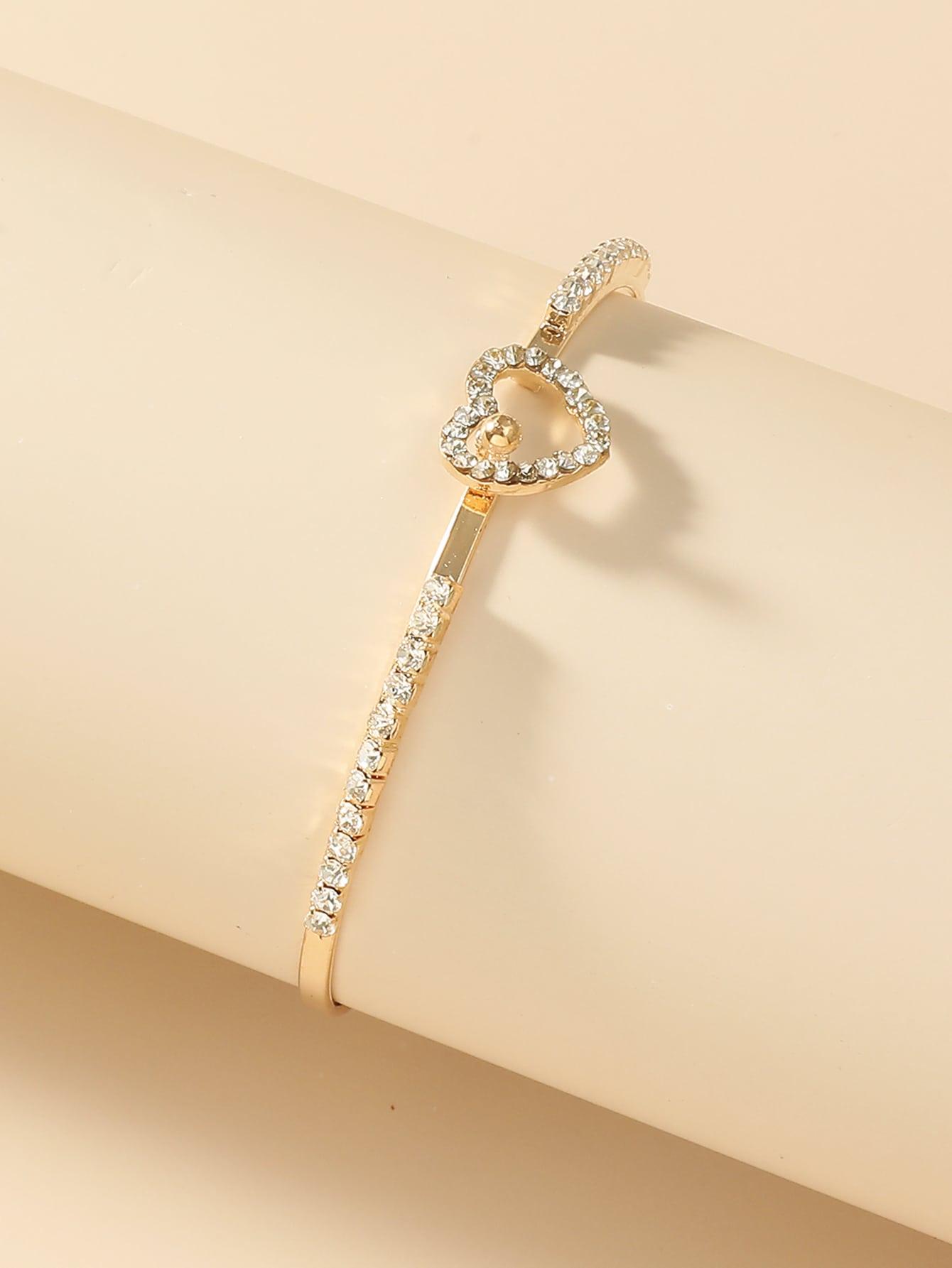 Rhinestone Heart Decor Bracelet thumbnail