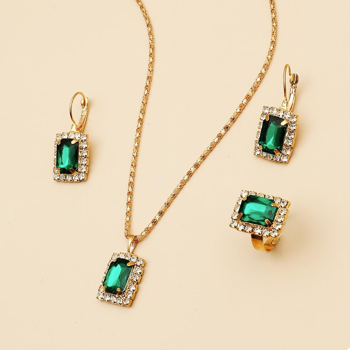 1 Stück Halskette mit Edelstein Anhänger & 1 Paar Ohrringe & 1 Stück Ring