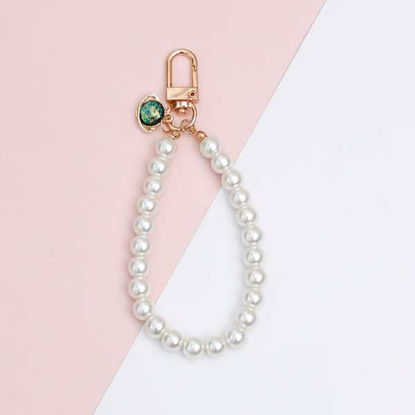 Faux Pearl Beaded Keychain, White