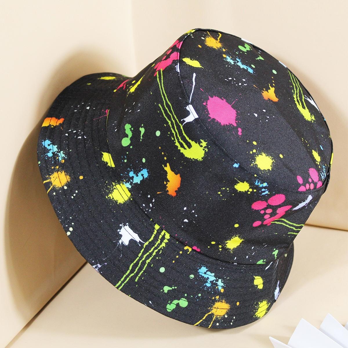 Двусторонняя шляпа с разноцветным принтом