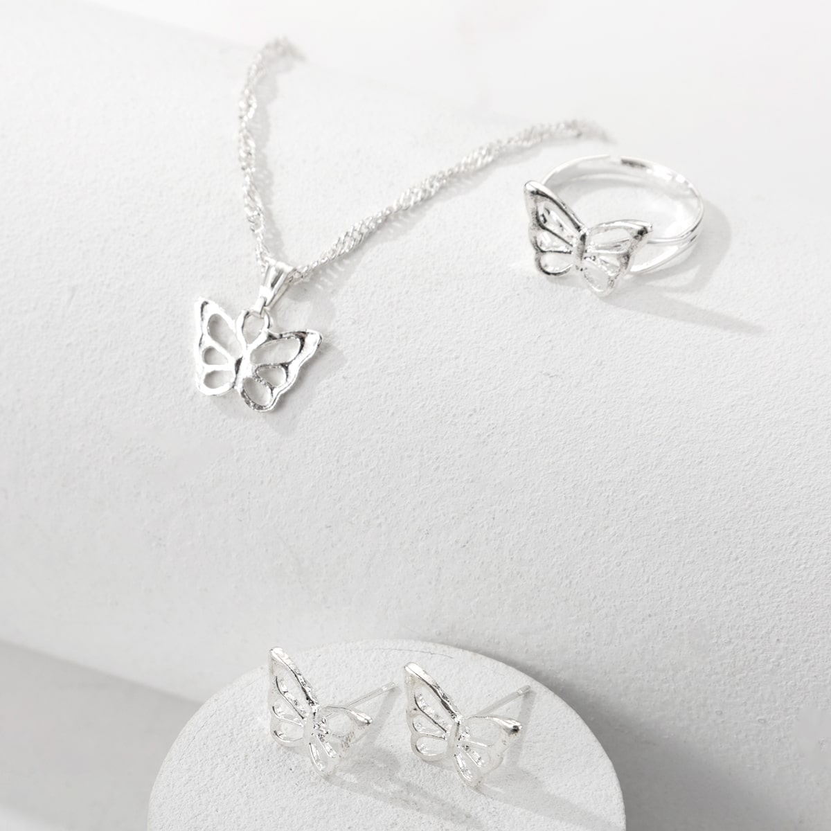 Hollow Out Butterfly Decor Jewelry Set, SHEIN  - buy with discount