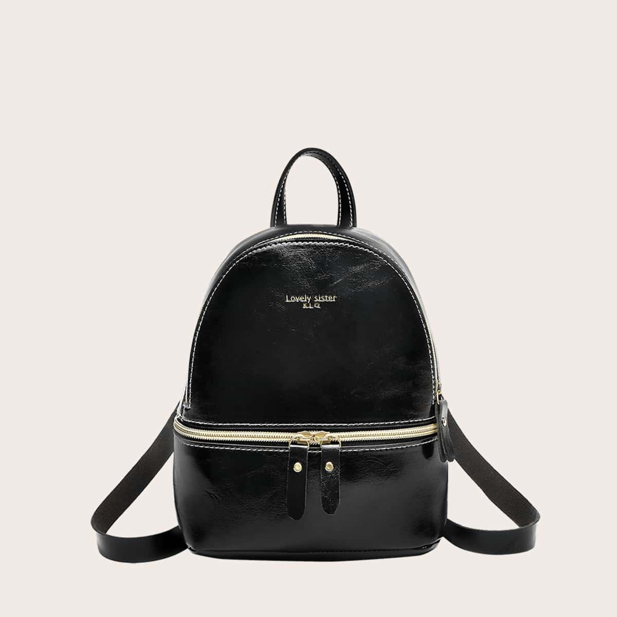 Рюкзак с молнией и текстовым принтом