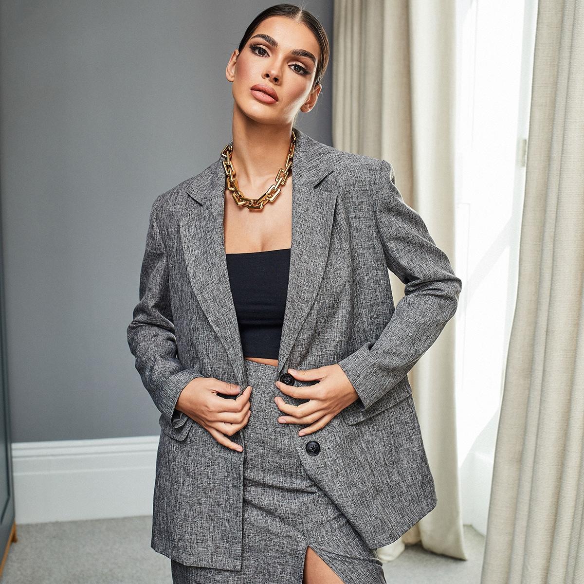 Однобортный ровный цвет элегантный пиджаки