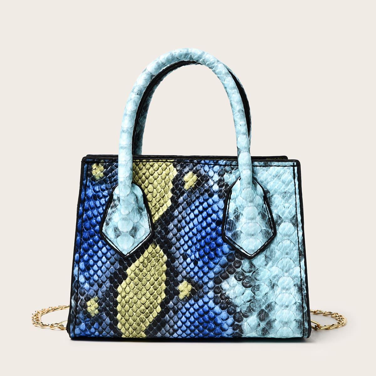 Миниатюрная сумка-сэтчел с змеиным рисунком