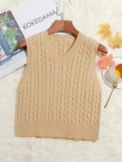 Plus Cable Knit V-neck Sweater Vest