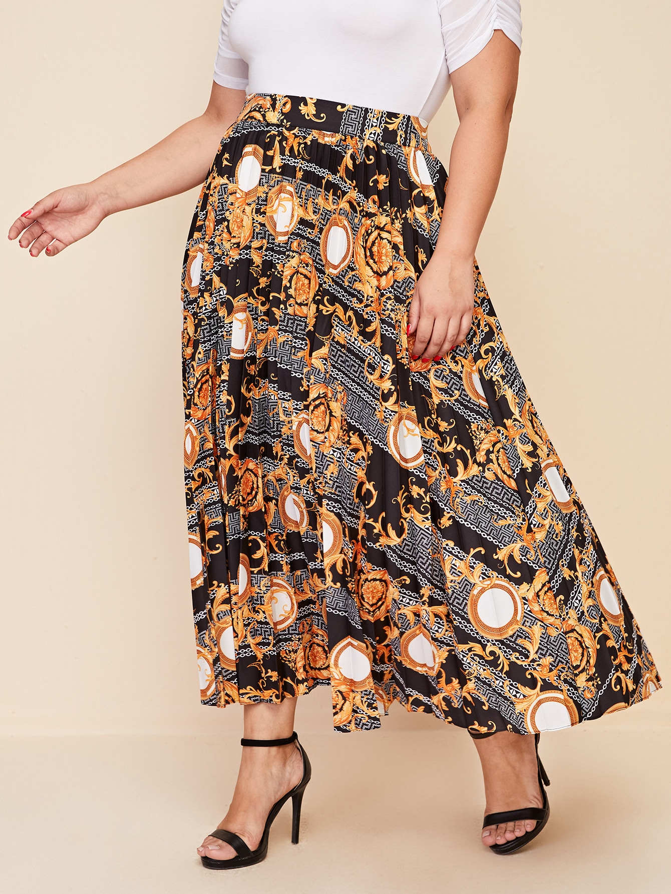 Plus Baroque and Chain Print Pleated Skirt thumbnail