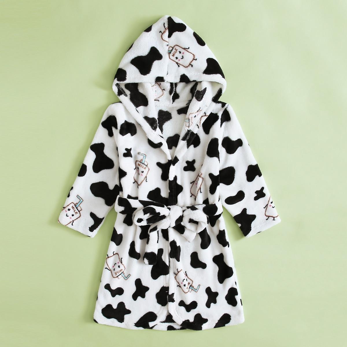 Фланелевый халат с коровьим принтом для мальчиков
