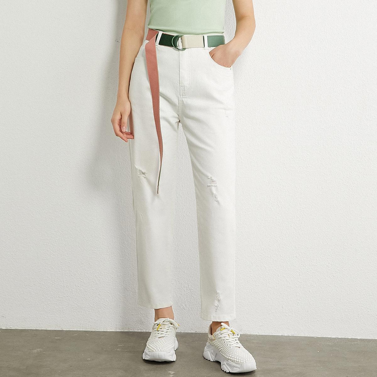 рваные джинсы с высокой талией и поясом