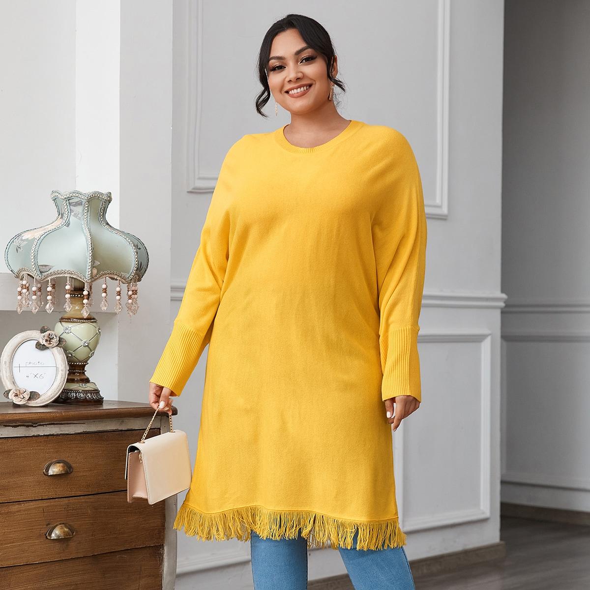 С бахромой одноцветный повседневный свитер размер плюс