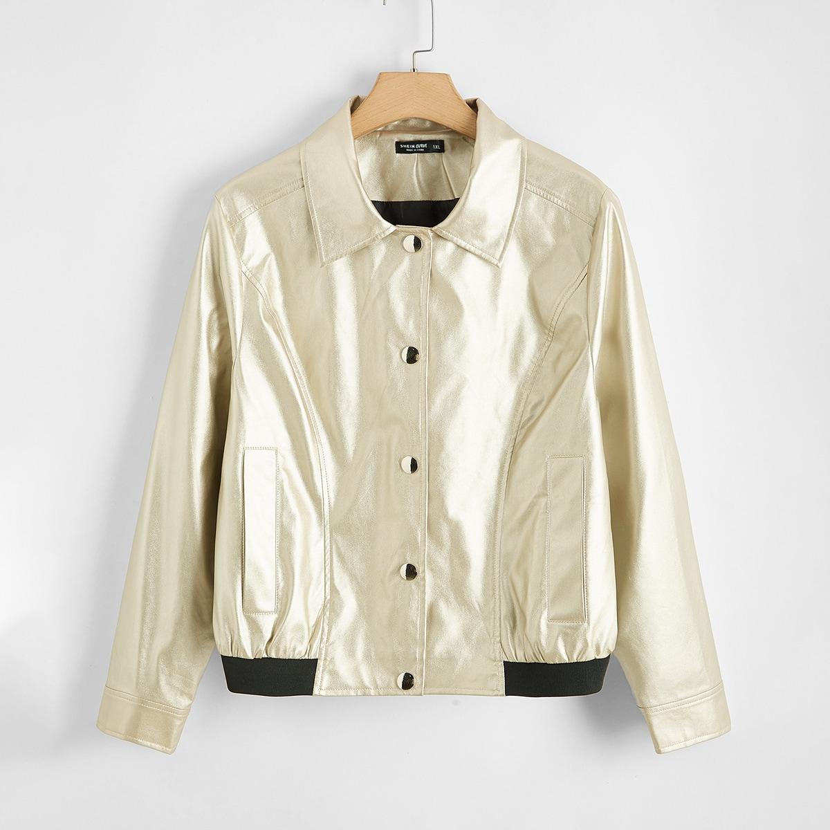 Куртка из искусственной кожи с пуговицами размера плюс
