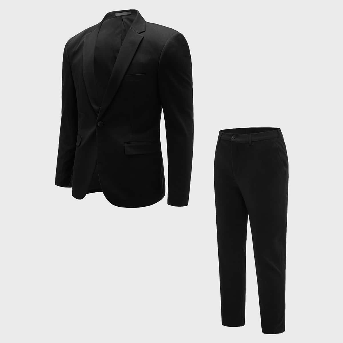 Men Solid Single Button Blazer & Tailored Pants