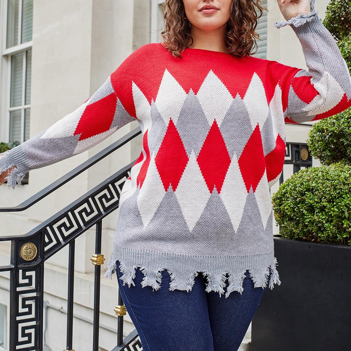 Рваный свитер размера плюс с ромбическим рисунком