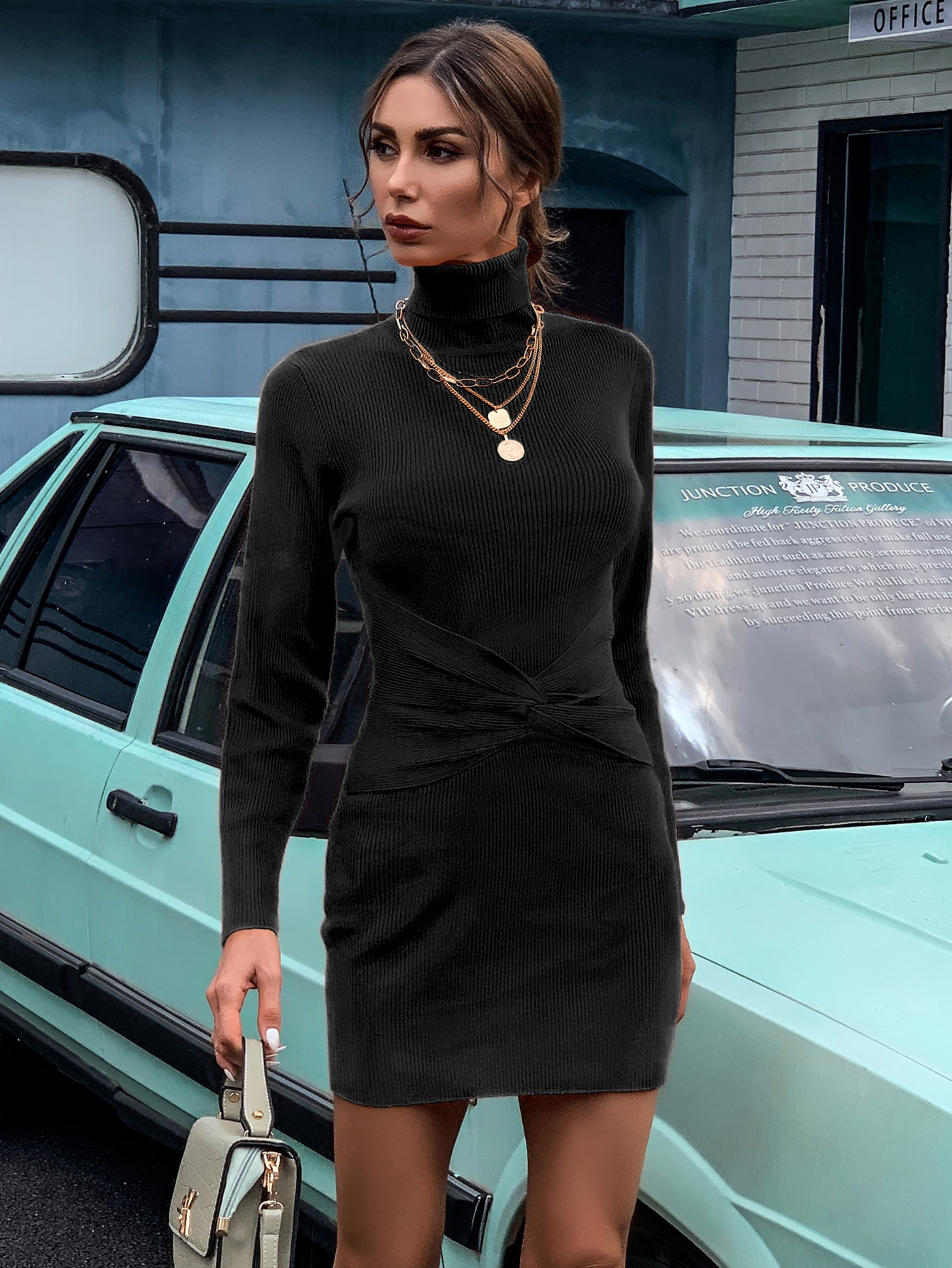 Turtle Neck Twist Front Sweater Dress thumbnail