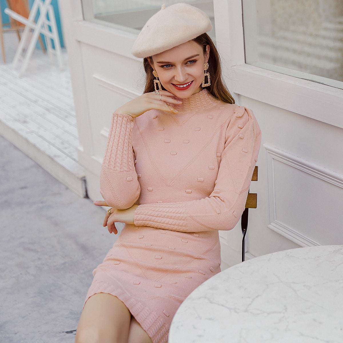 Платье-свитер с пышным рукавом без пояса
