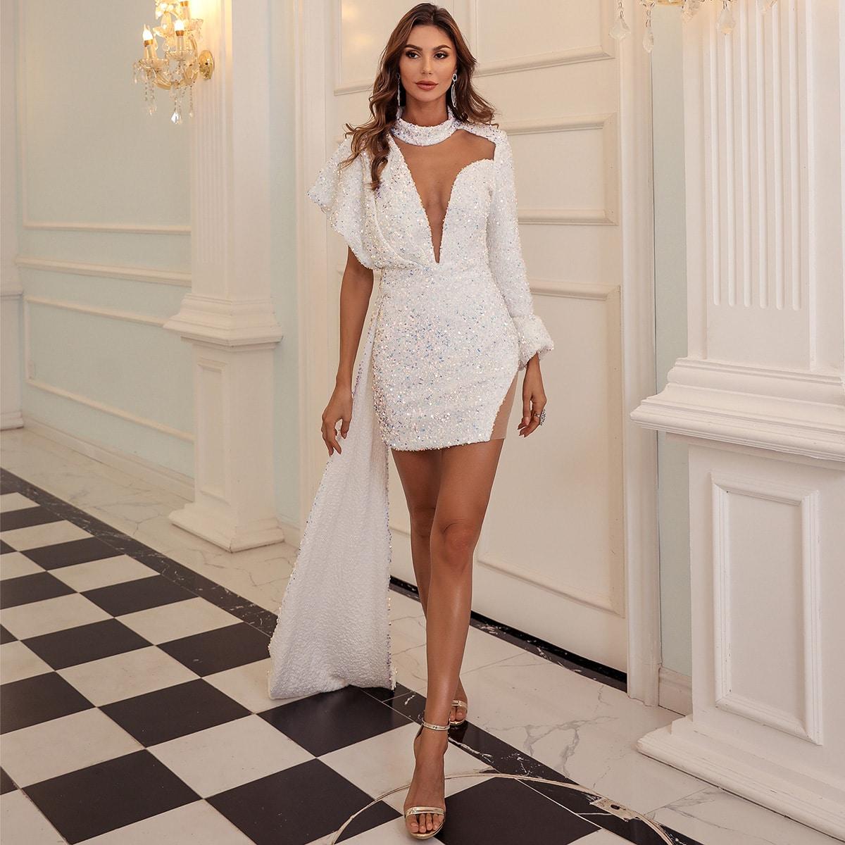 Блестящее платье с сетчатой вставкой
