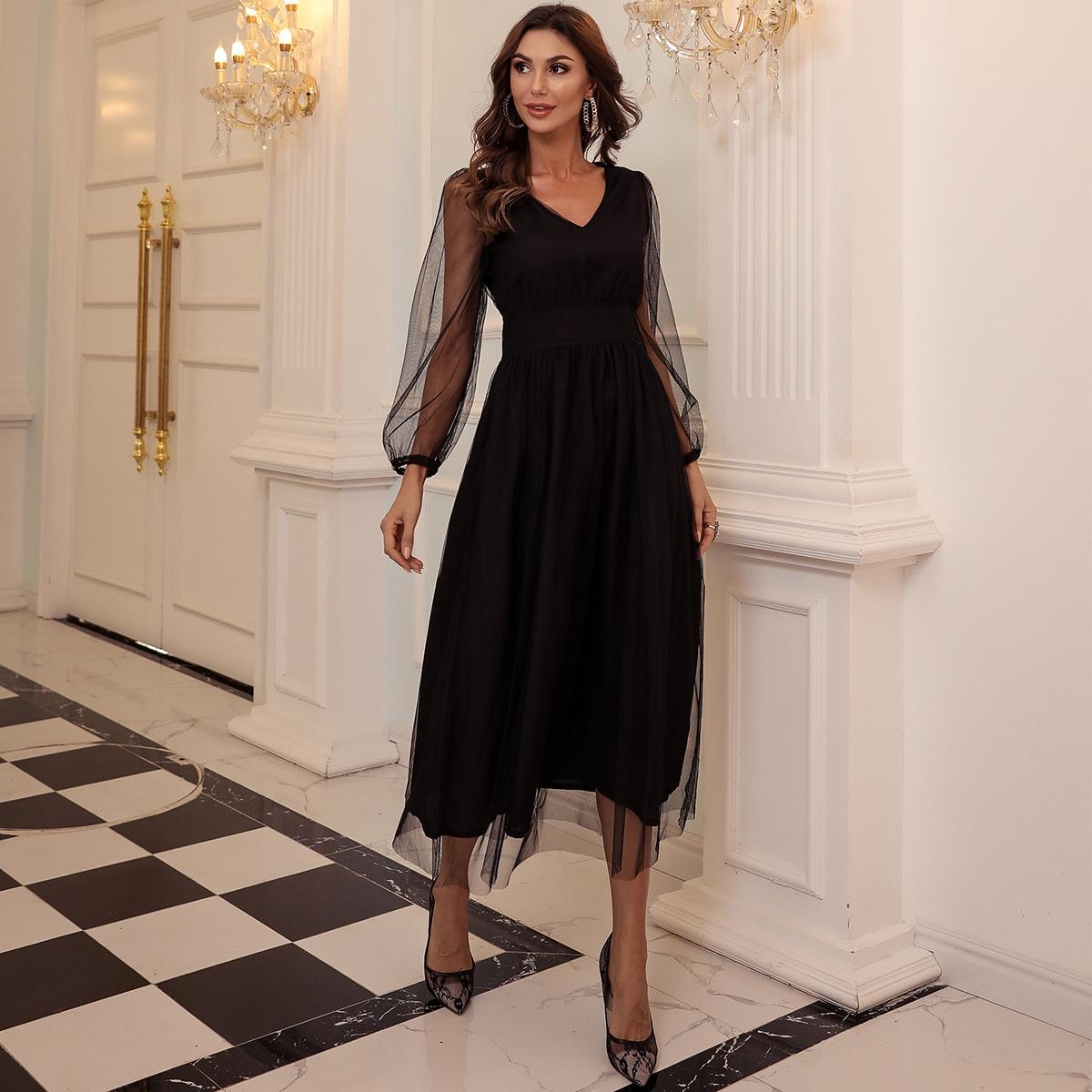 Сетчатое платье с прозрачным рукавом и молнией сзади
