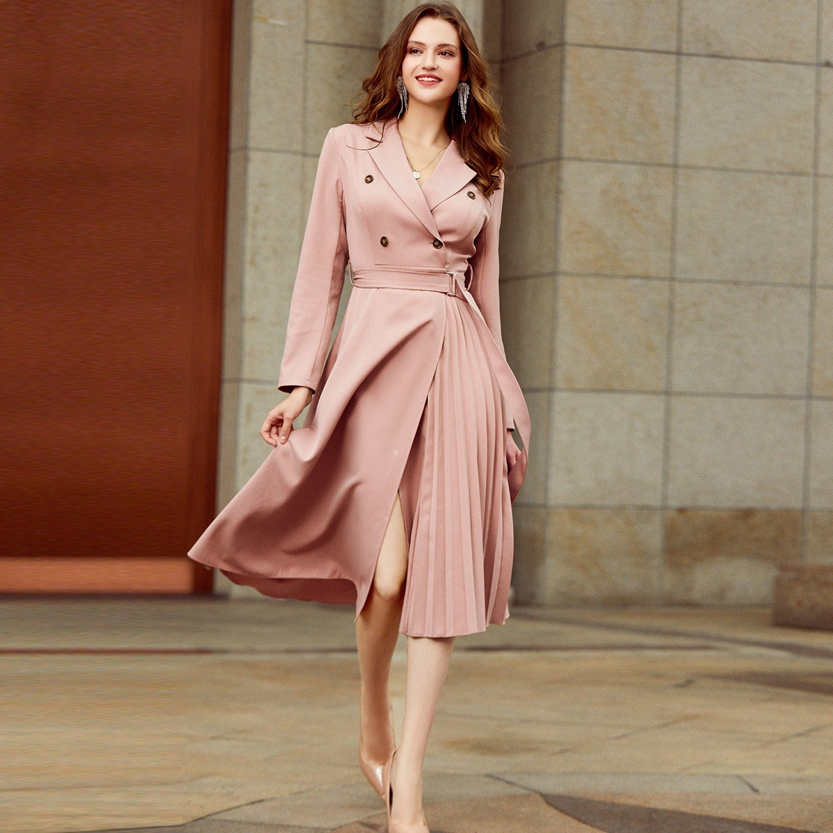 Double Button Belted Pleated Dress