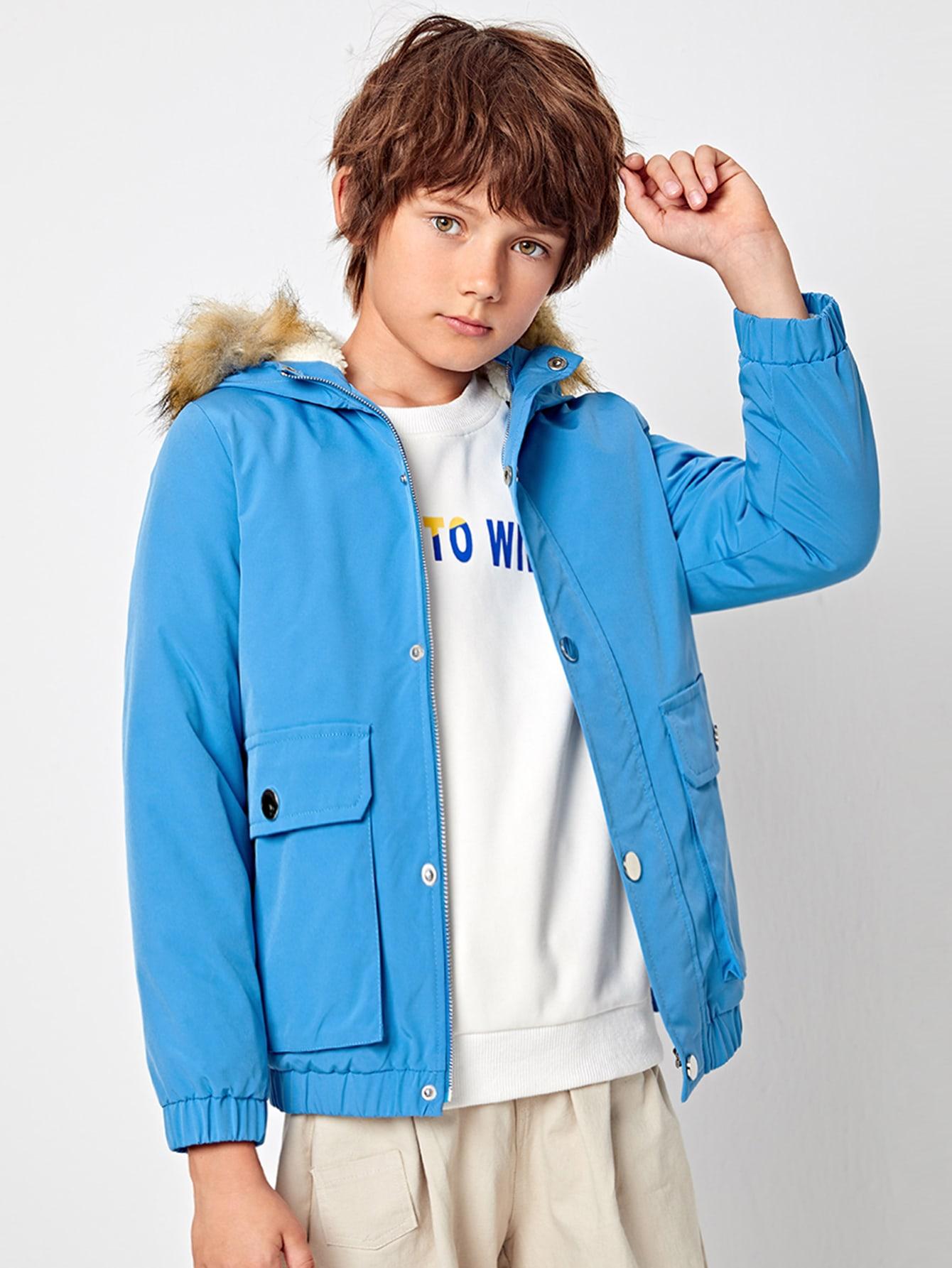 boys zip up fuzzy hooded jacket