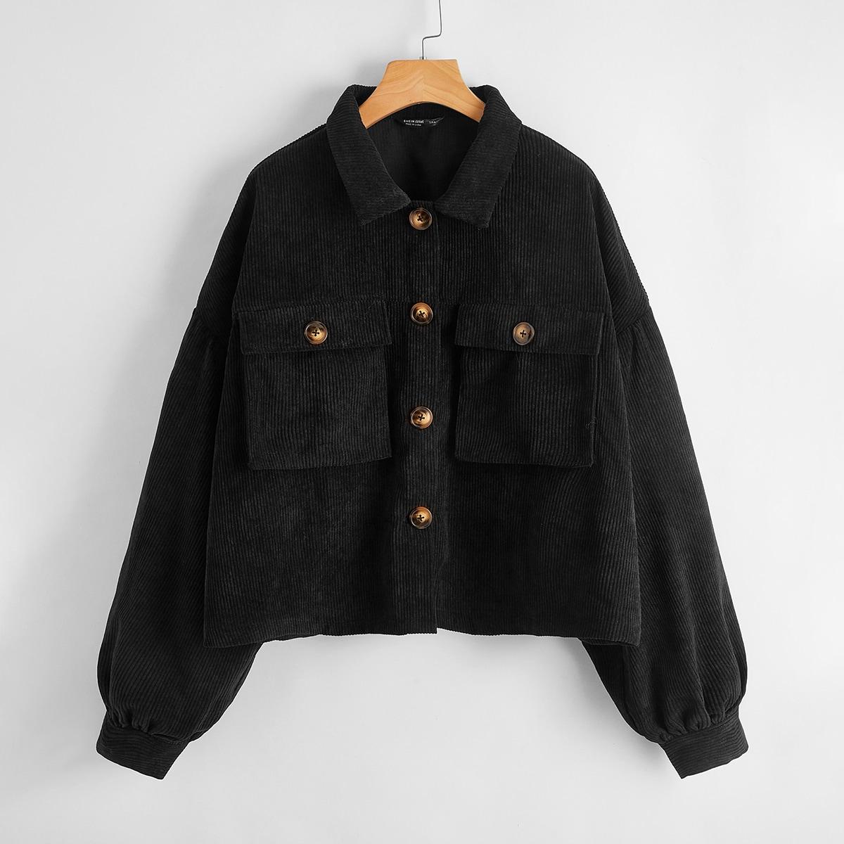Plus Button Front Corduroy Jacket