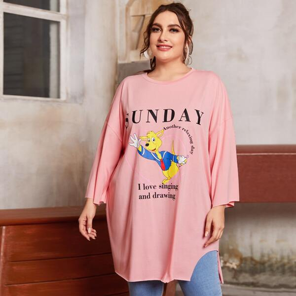 Plus Slogan and Cartoon Graphic Drop Shoulder Ripped Oversized Longline Tee, Baby pink