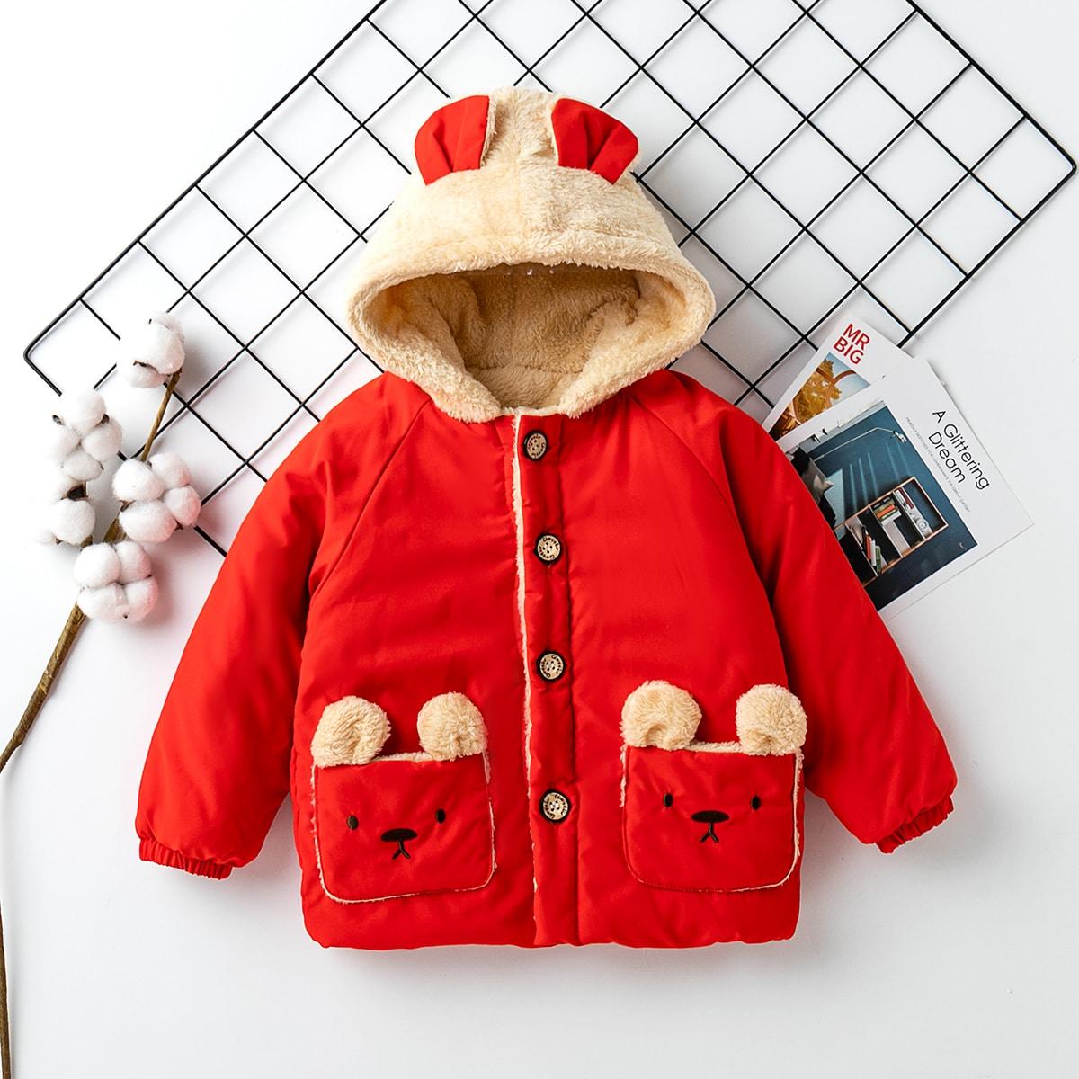 Однобортная куртка с капюшоном и принтом медведя для девочек
