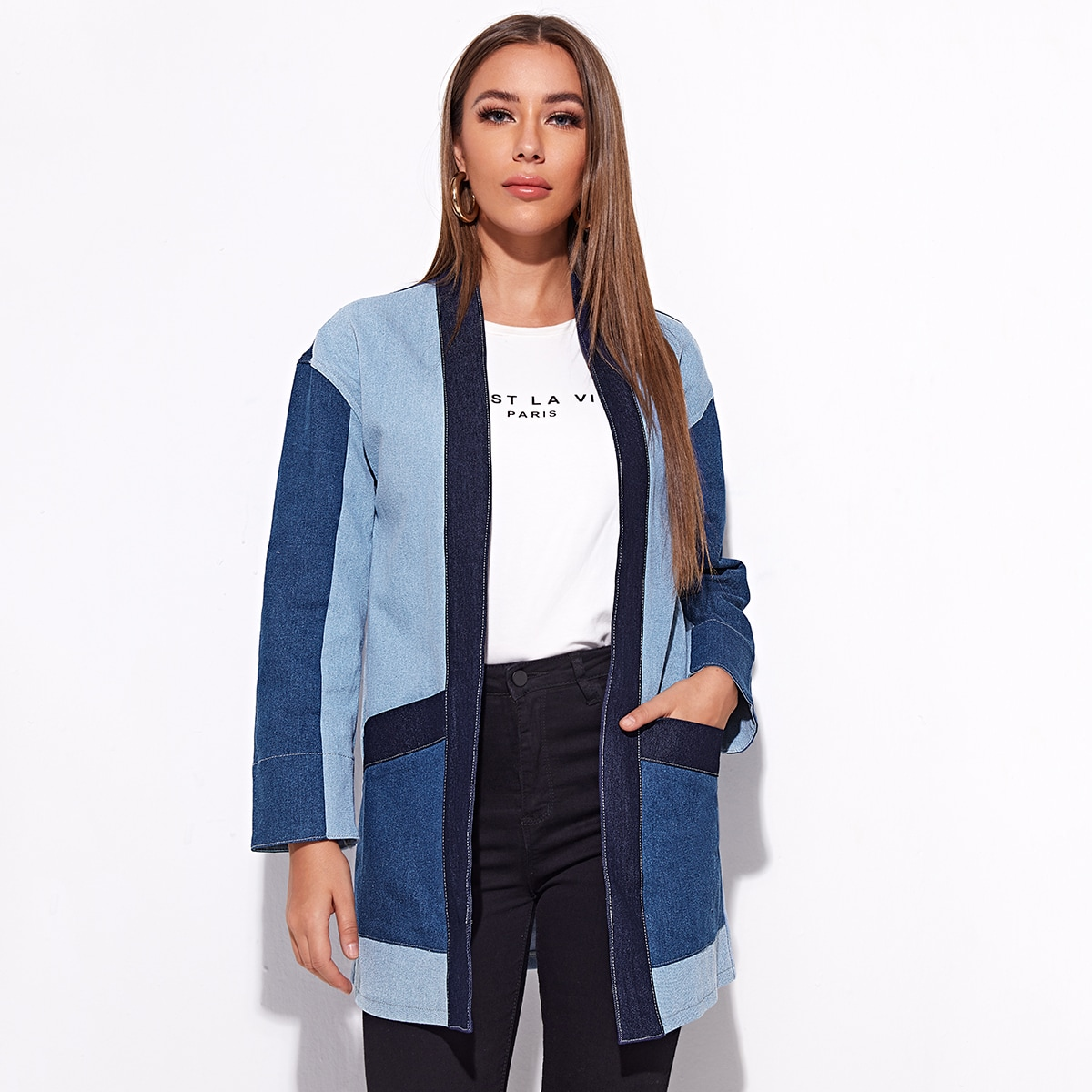 Контрастное джинсовое пальто
