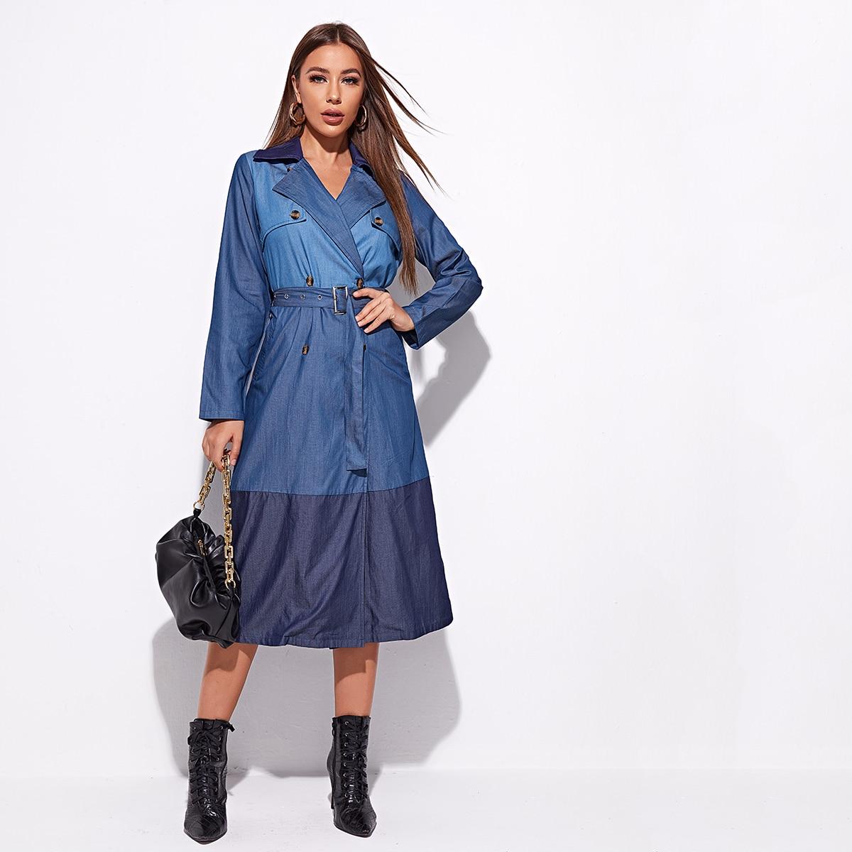 Двубортное джинсовое пальто с поясом