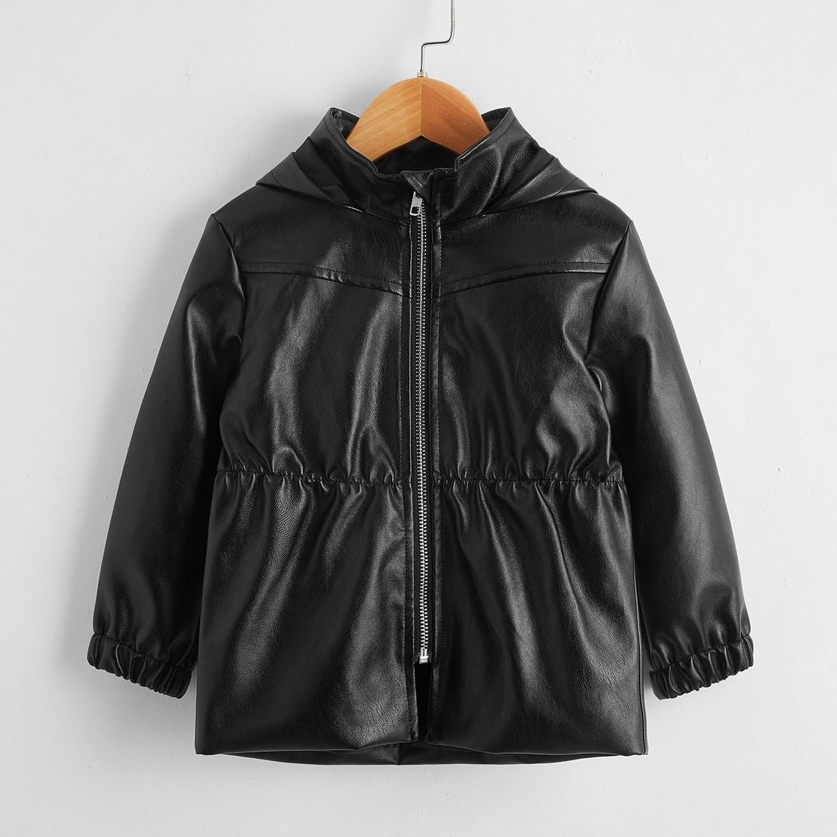 Пальто из искусственной кожи на молнии для девочек