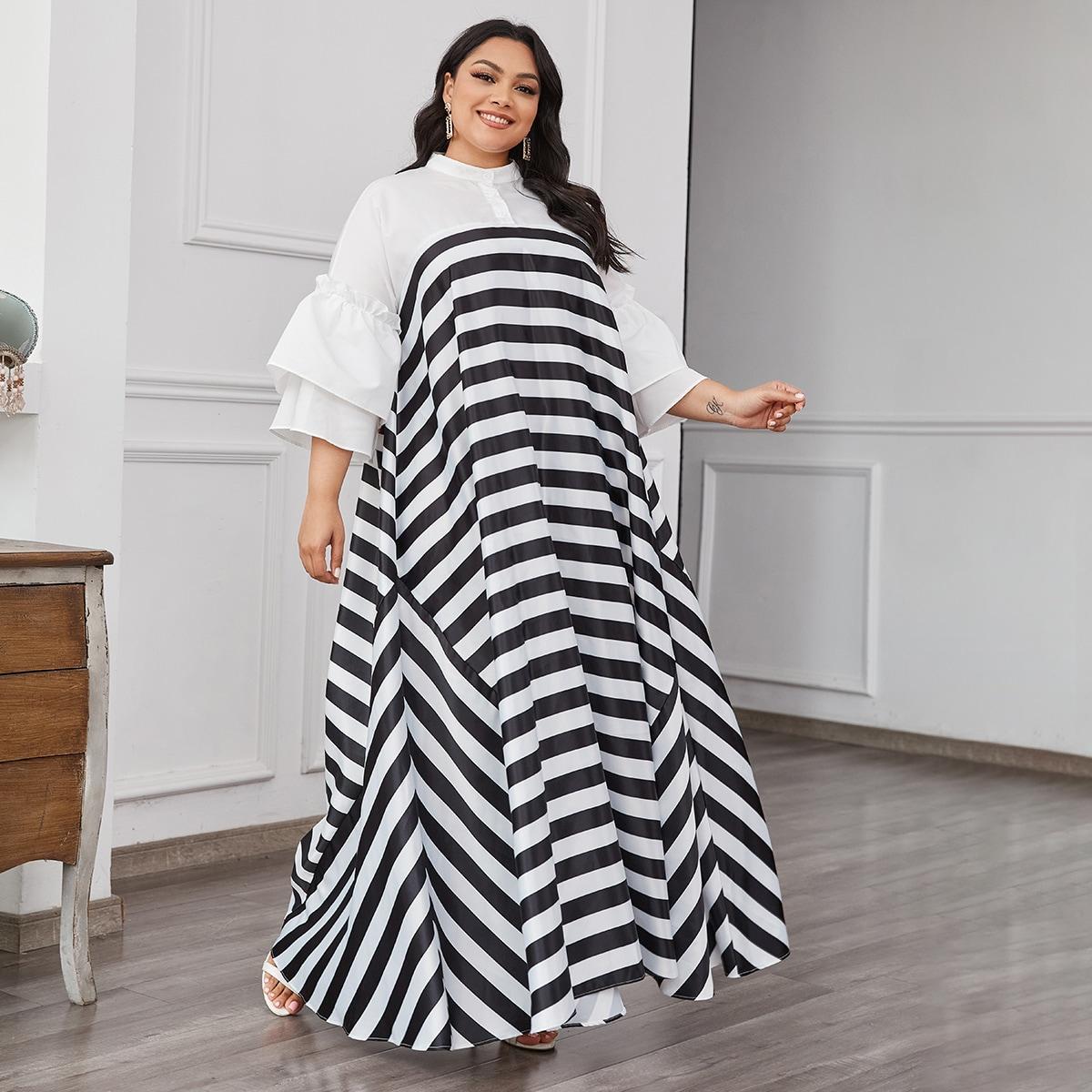 Двухцветное платье размера плюс в полоску с оригинальным рукавом
