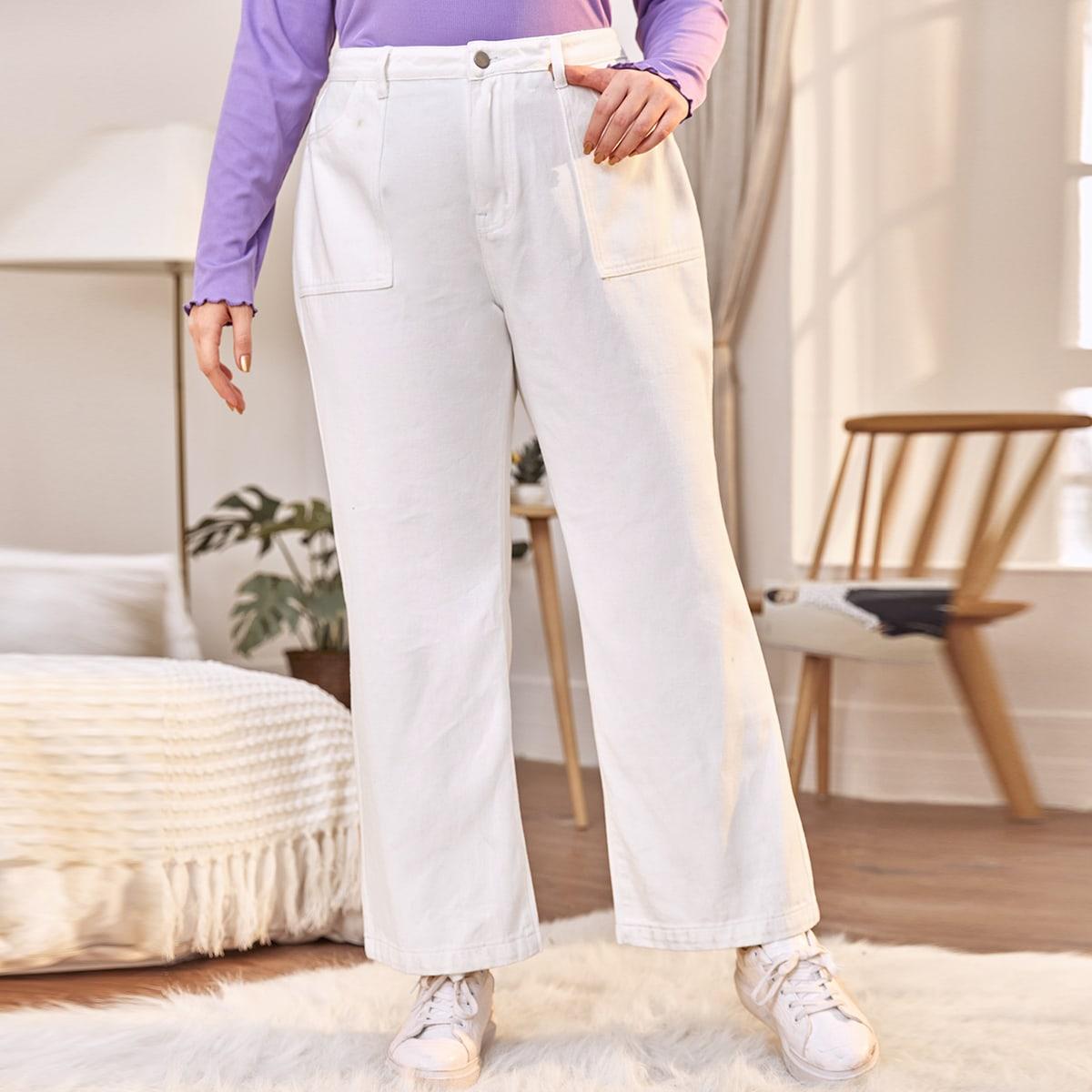 Расклешенные джинсы размера плюс с карманом