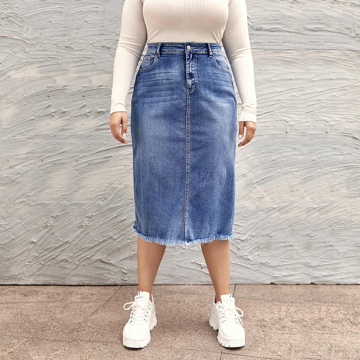 Джинсовая юбка размера плюс с разрезом