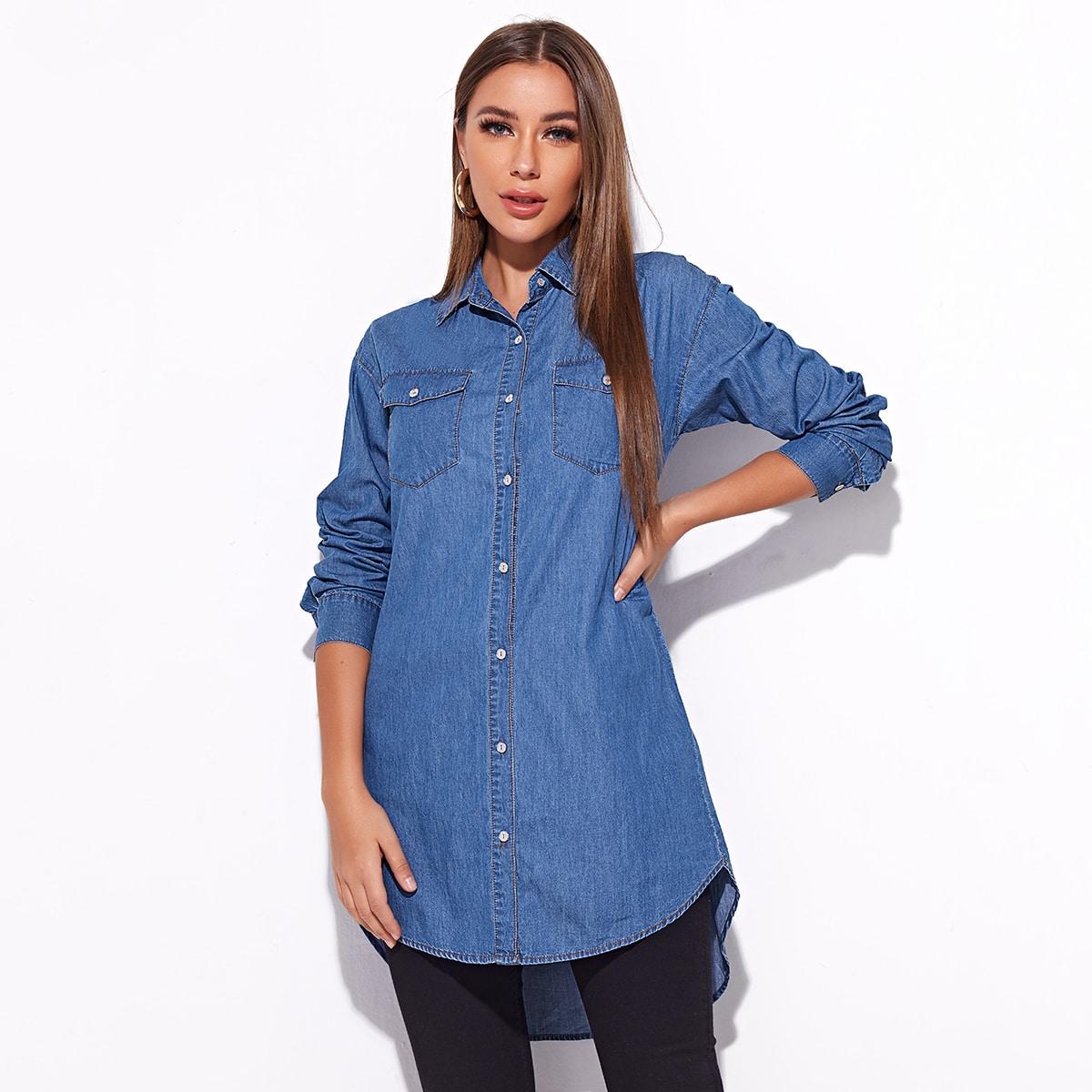 Длинная асимметричная джинсовая блузка