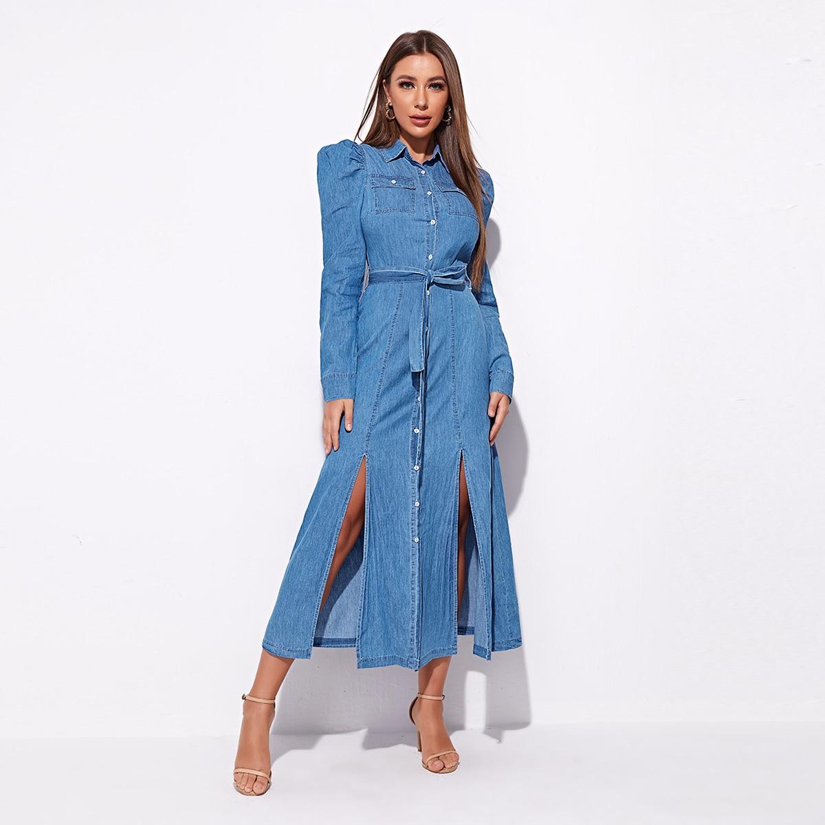 Джинсовое платье с поясом и пышным рукавом