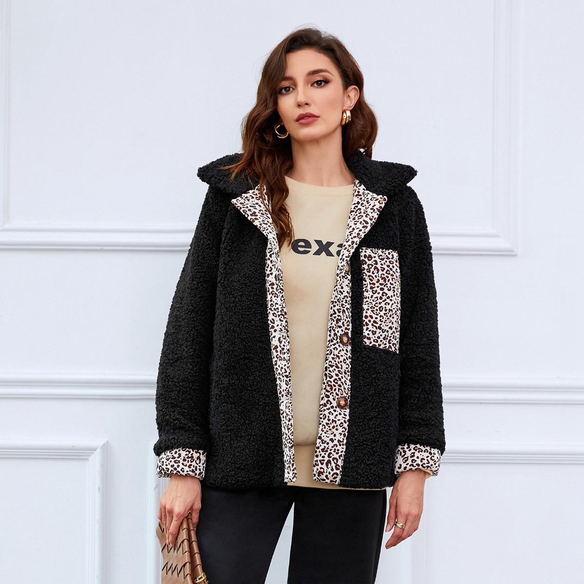 Плюшевое пальто с леопардовым узором