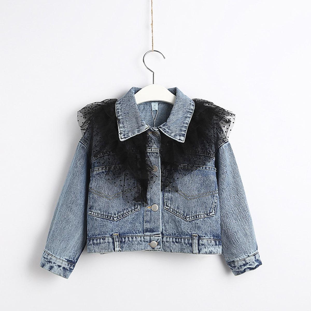 Джинсовая куртка с сетчатой отделкой для девочек