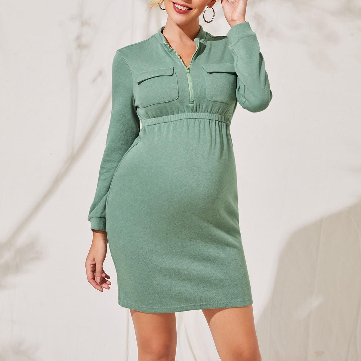 На молнии одноцветный повседневный платья для беременных