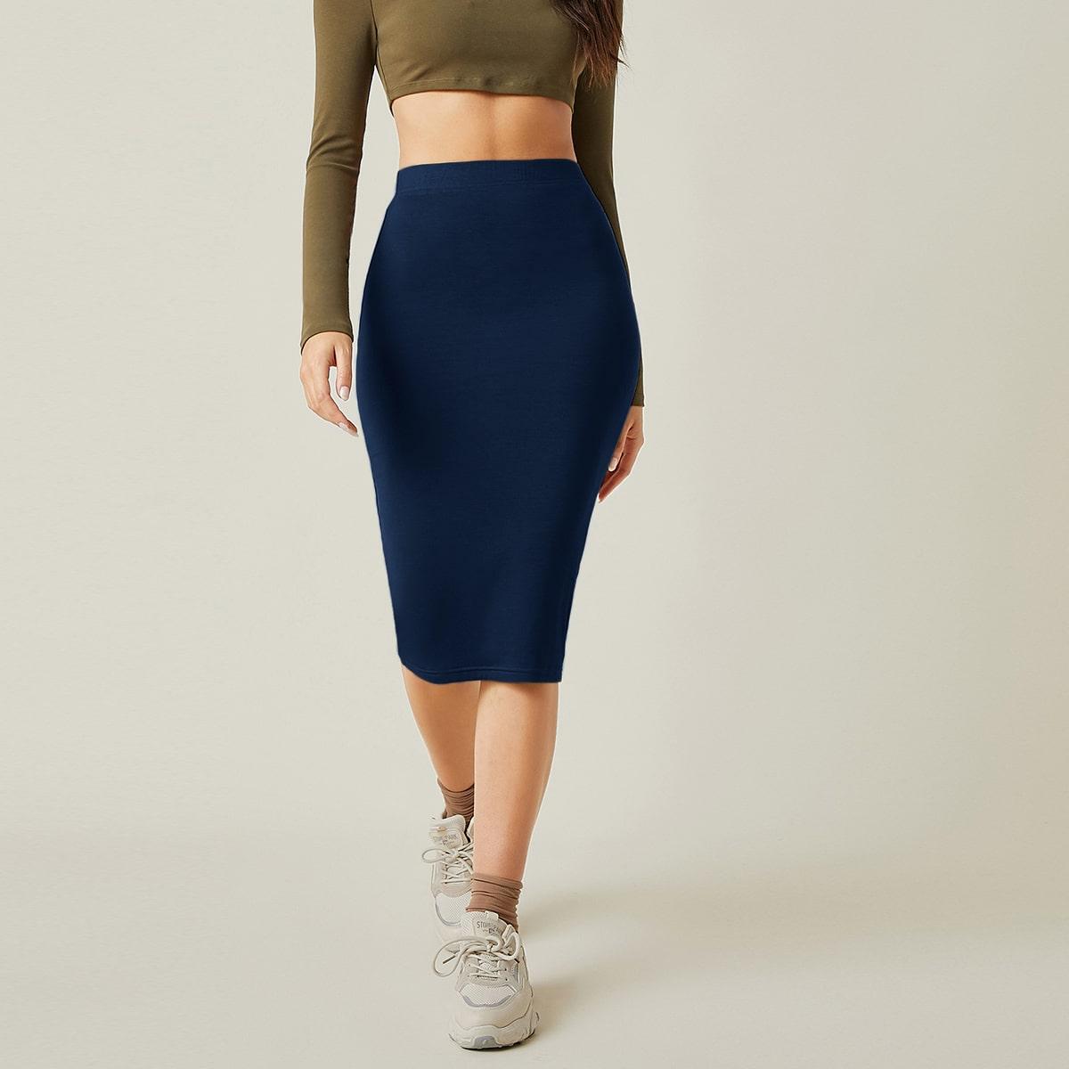 Облегающая юбка с высокой талией
