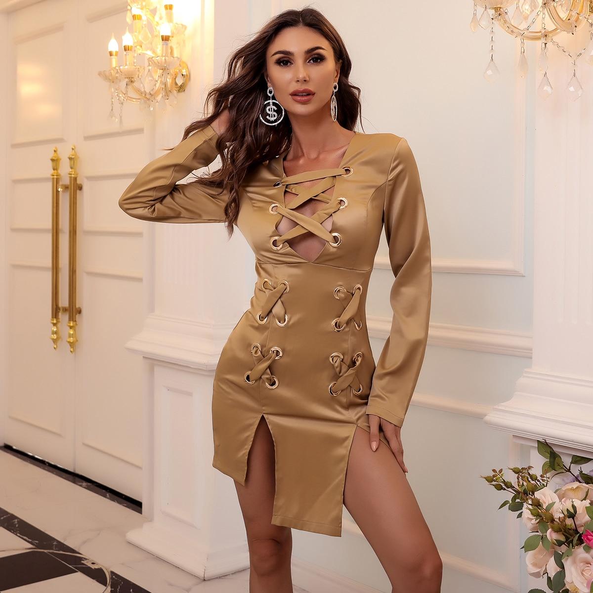 Атласное платье с разрезом и шнурком SheIn swdress42200923071