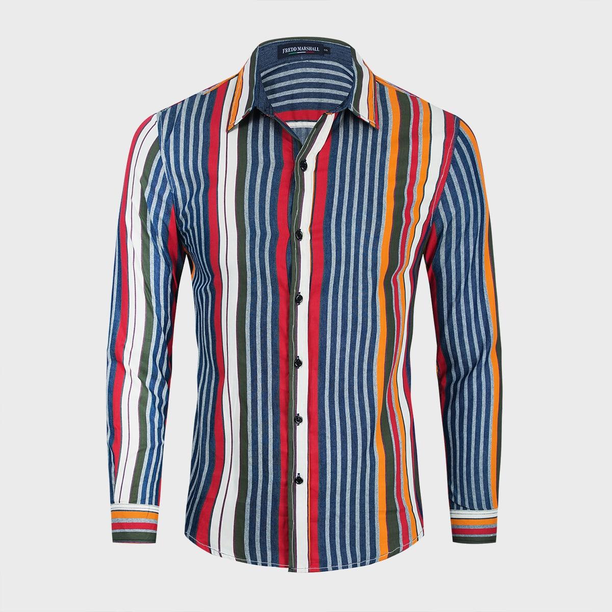 Пуговица полосатый отпуск мужские джинсовые рубашки