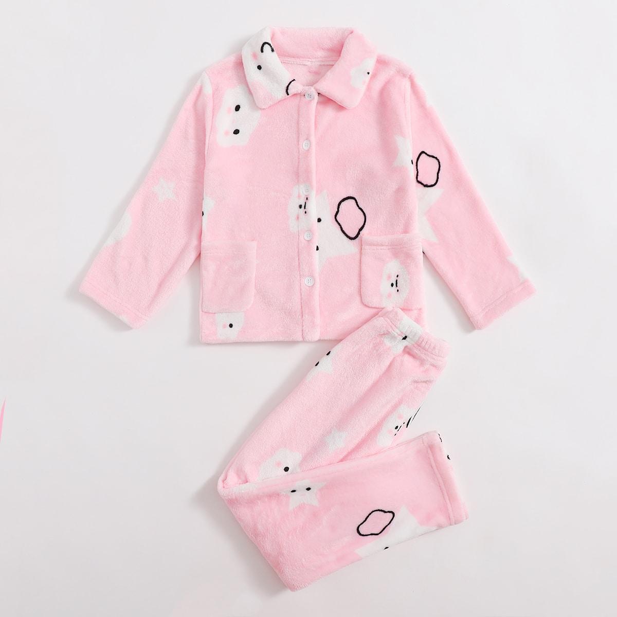 с карманами Мультяшный принт милый Домашняя одежда для девочек