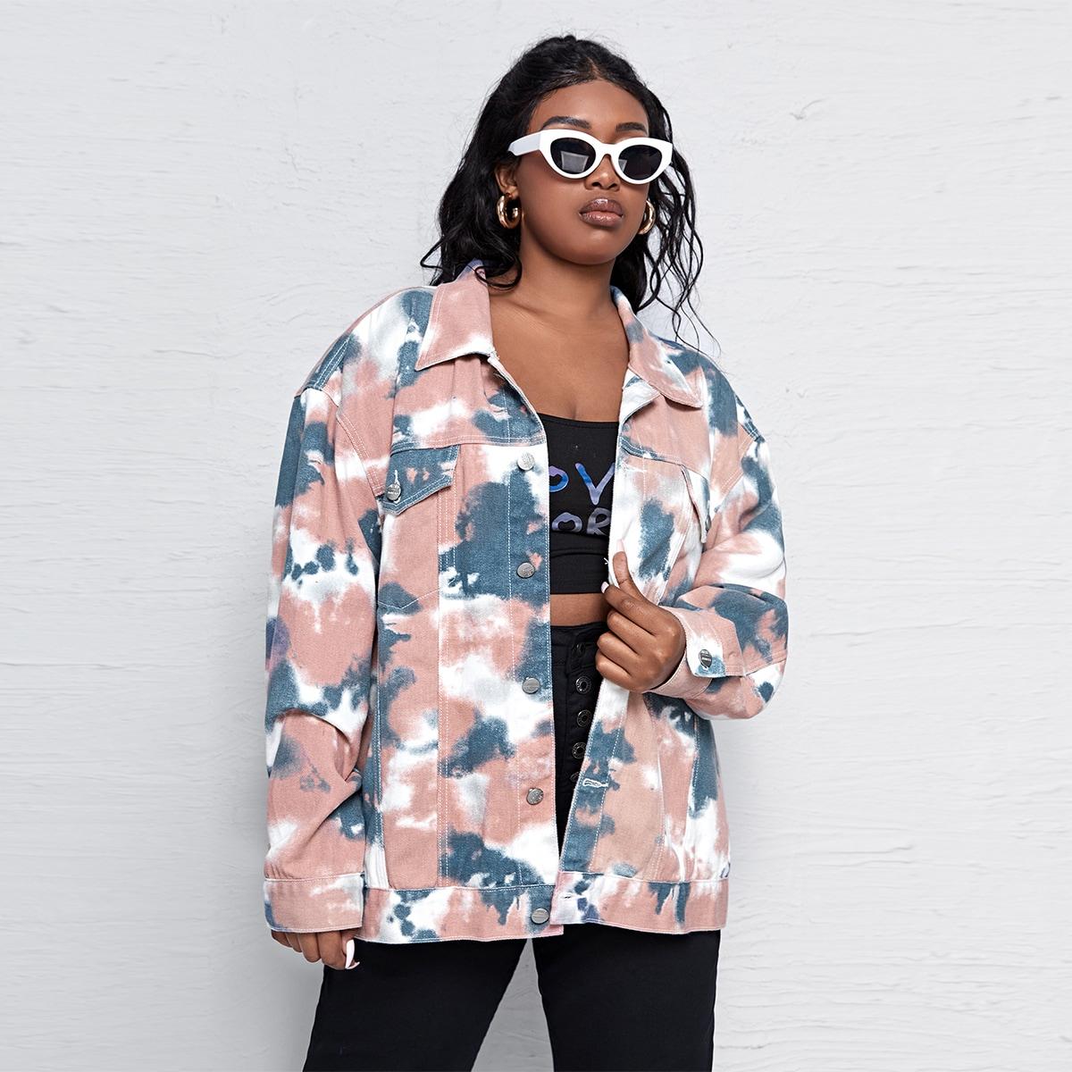 Джинсовая куртка оверсайз с принтом тай дай размера плюс