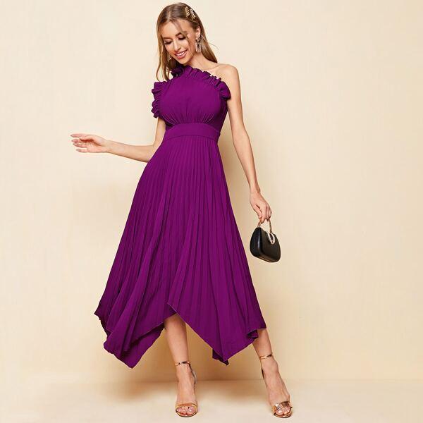One Shoulder Ruffle Detail Pleated Hanky Hem Dress, Purple