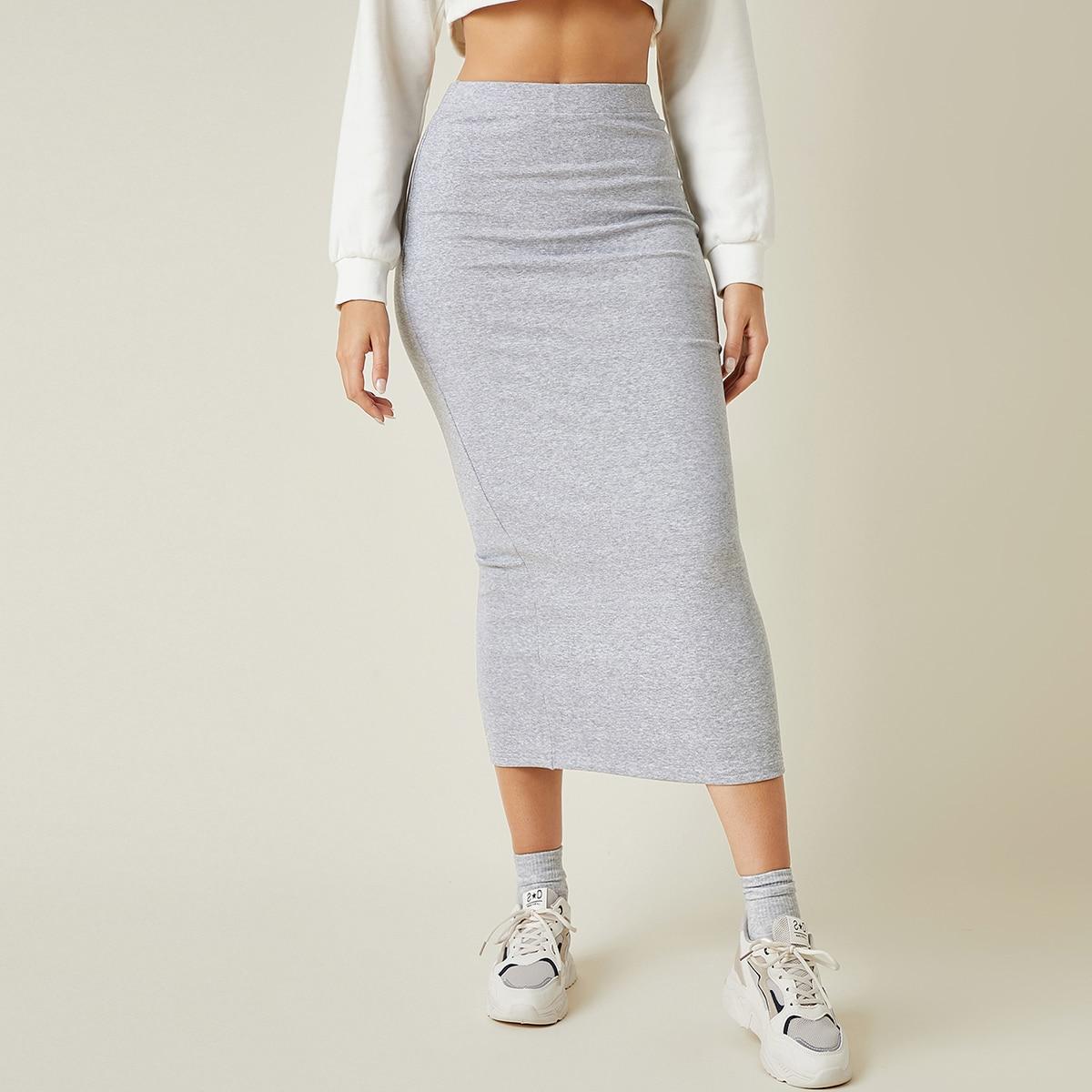 Однотонная юбка с высокой талией