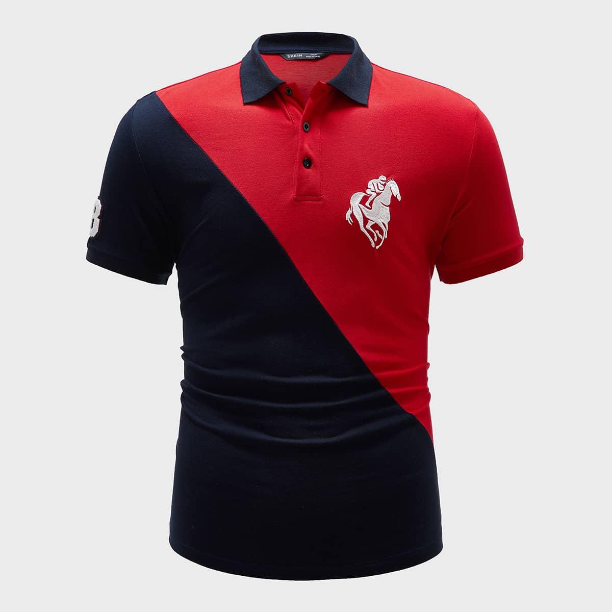 Мужская контрастная рубашка-поло с вышивкой