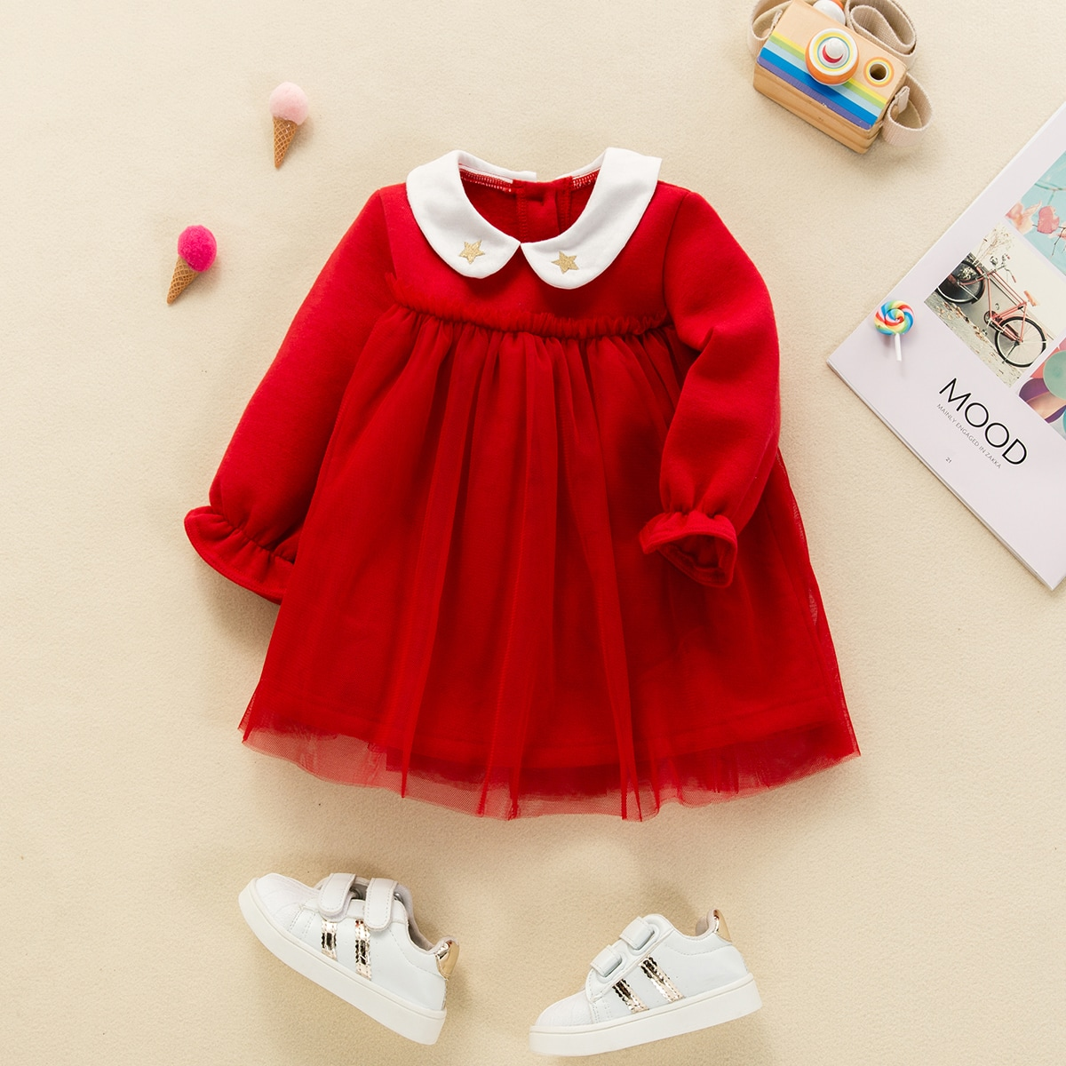 Платье с геометрической вышивкой для девочек от SHEIN