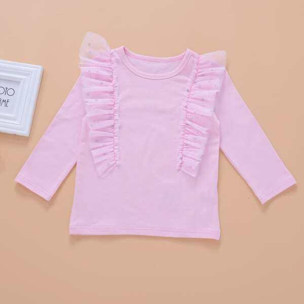 Toddler Girls Contrast Star Mesh Ruffle Tee, Baby pink