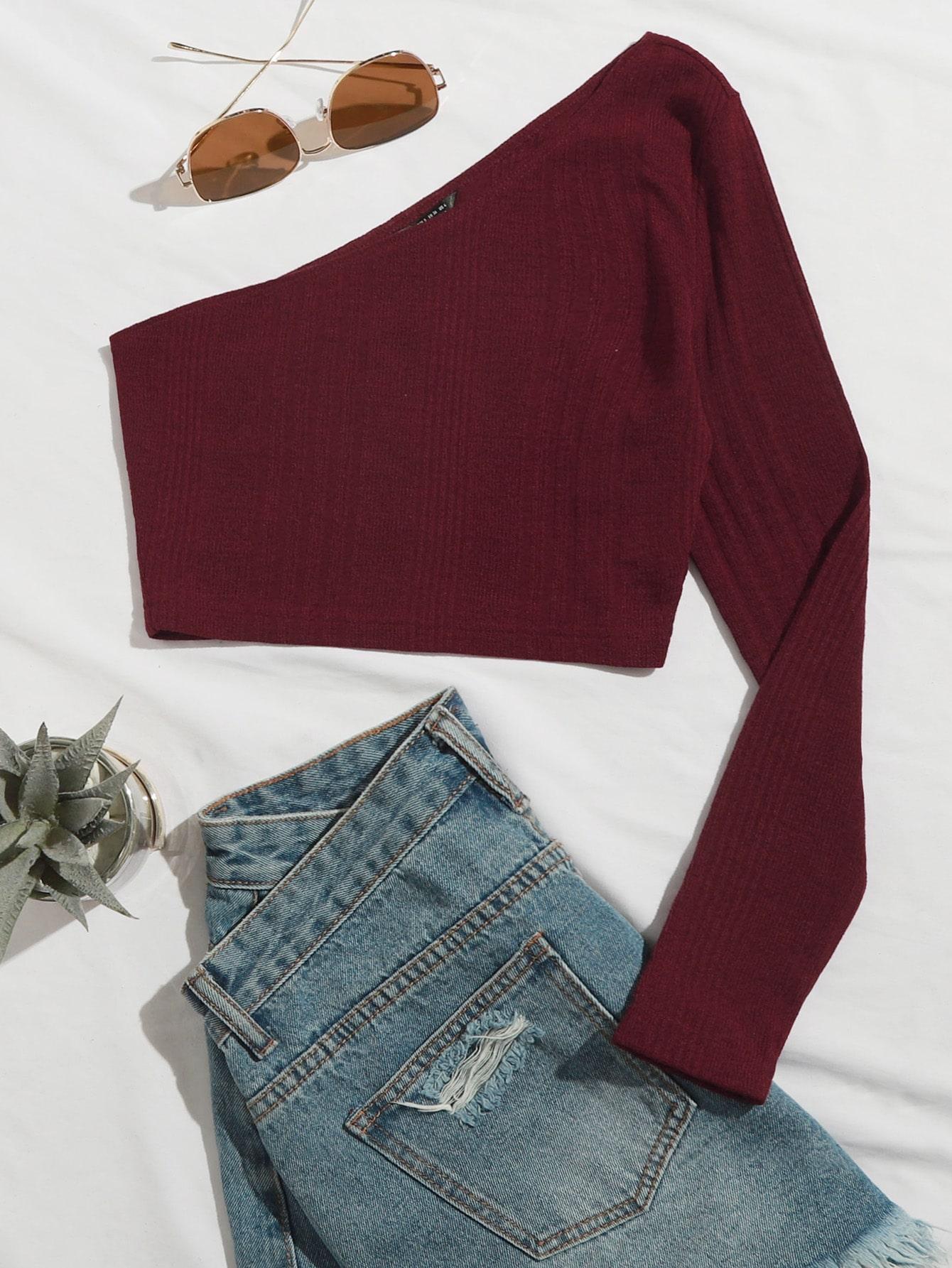 One Shoulder Rib-knit Crop Tee thumbnail