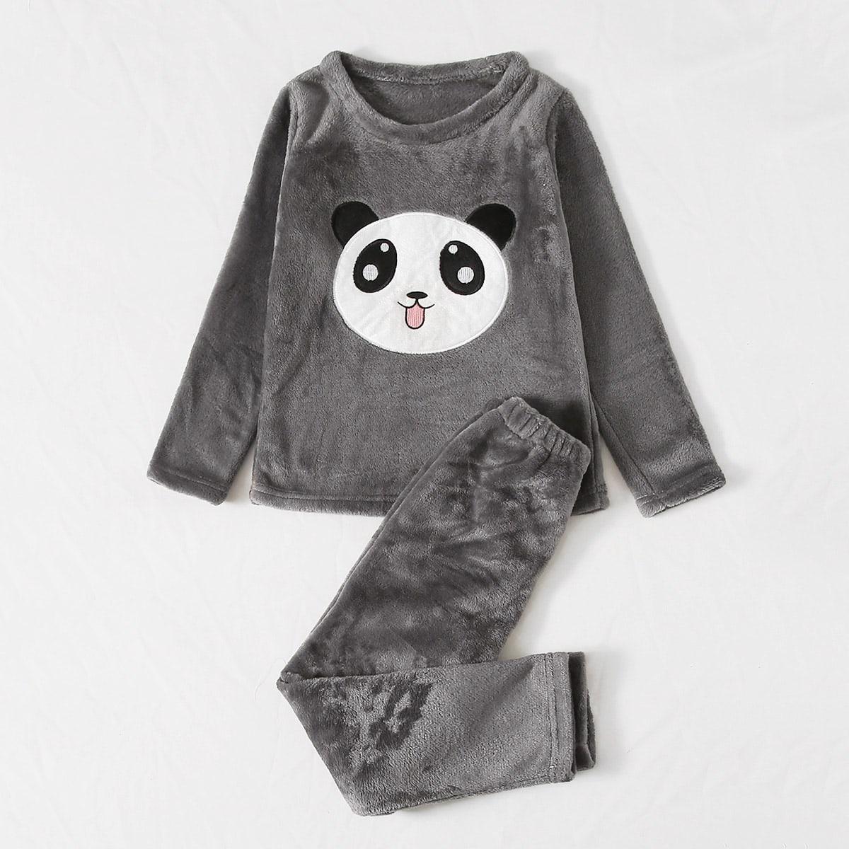 Фланелевая пижама с мультипликационной вышивкой для мальчиков