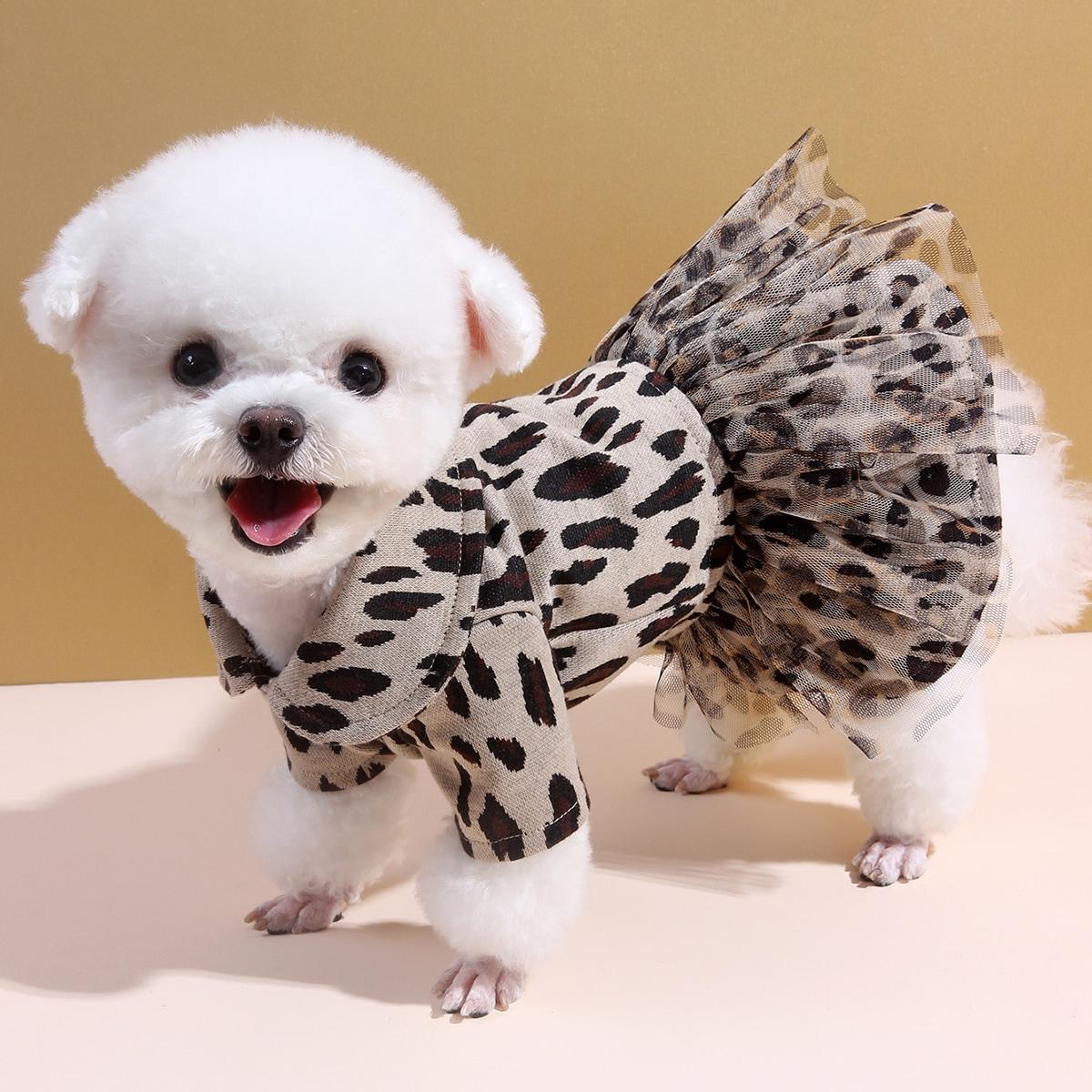 Robe pour chien léopard avec tulle